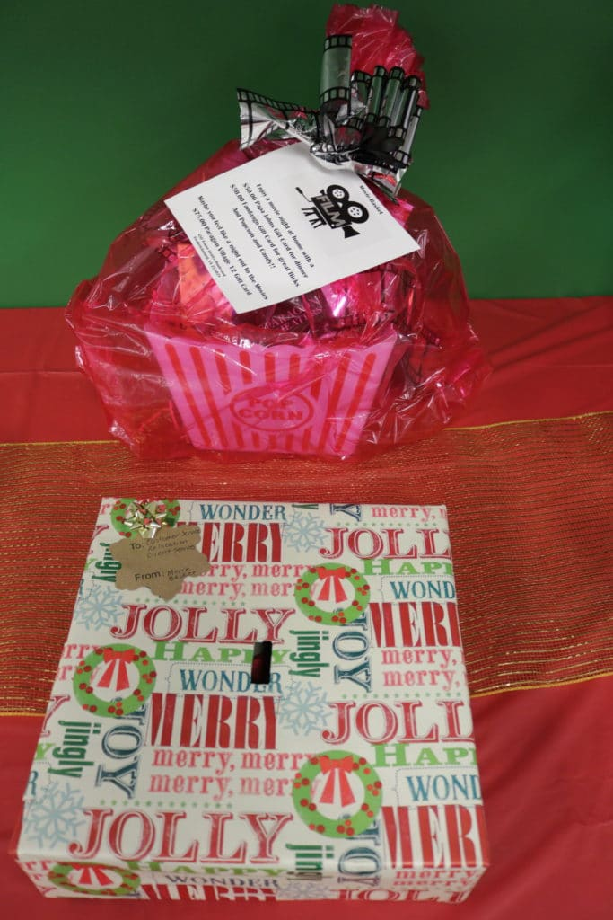 Gift basket with movie giftcards, DVDs, etc.