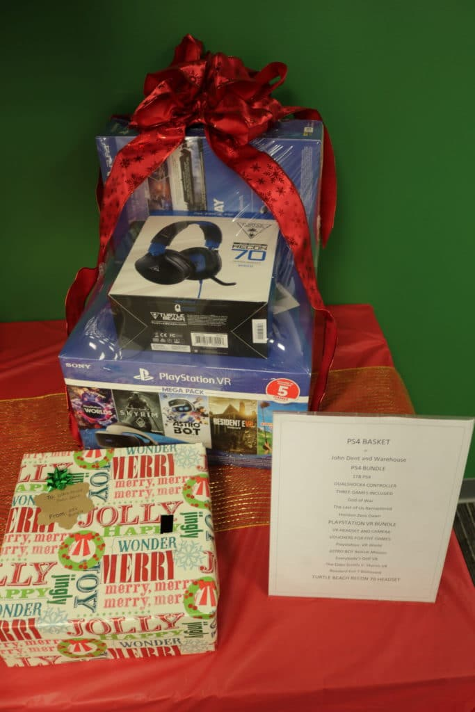 Christmas basket with PS4 game and accessories