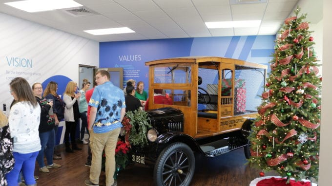 Hilldrup employees gather in front lobby during our company Christmas party