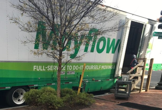 Mayflower Transit moving truck with side door open