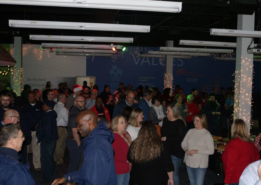 An overhead look at Hilldrup's Christmas party which took place in our training room.