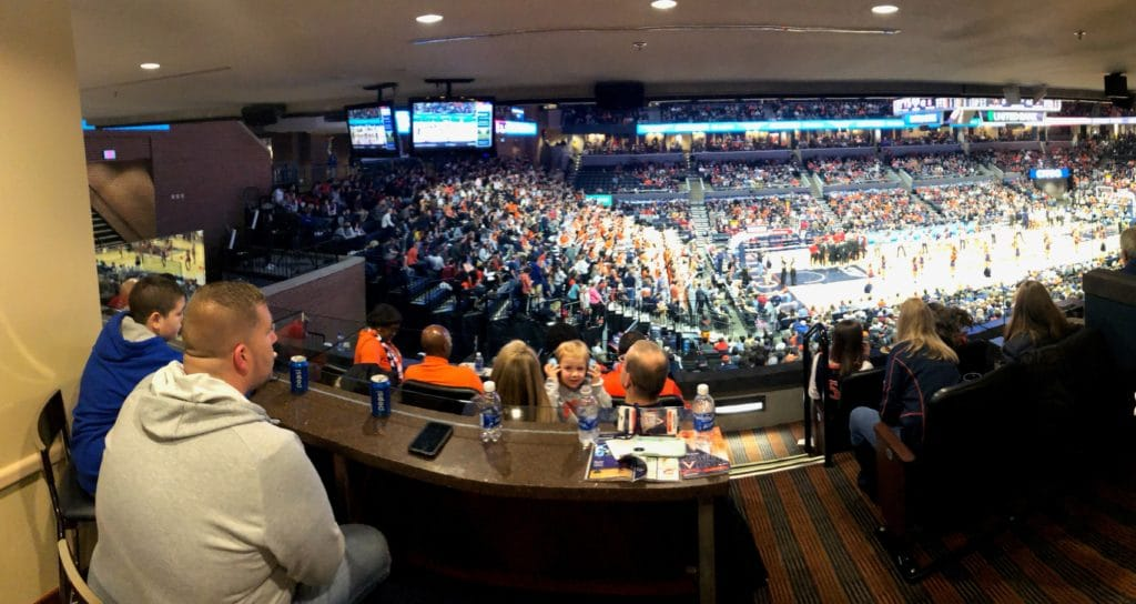 Our team enjoys the view at the UVA game.
