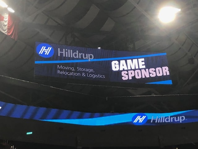 Hilldrup's logo displayed during the Georgetown basketball game at Capital One Arena