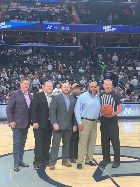 Members of our Hilldrup team were a part of the game ball presentation at halfcourt