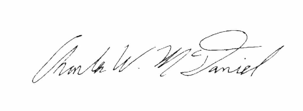 Charles W McDaniel signature