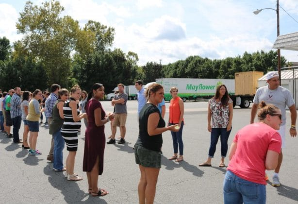 Hilldrup Stafford employees lining up for the annual summer water balloon toss
