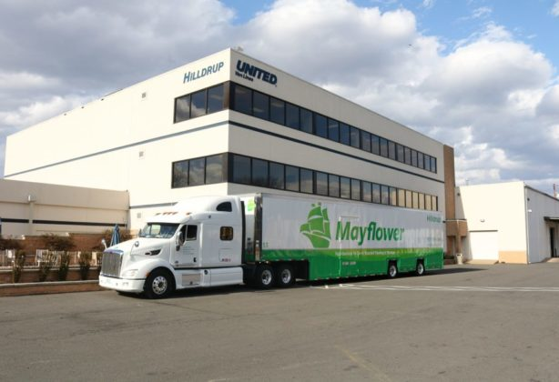 Mayflower truck parked outside of Hilldrup Stafford Headquarters
