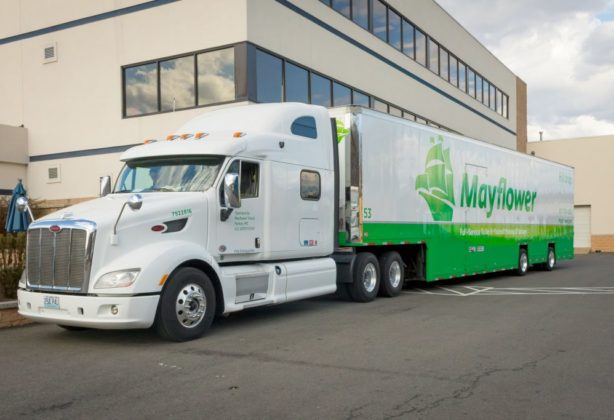 Mayflower truck parked outside of Stafford Headquarters