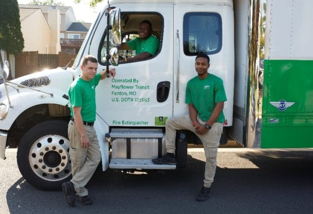 Mayflower Movers outside of a truck
