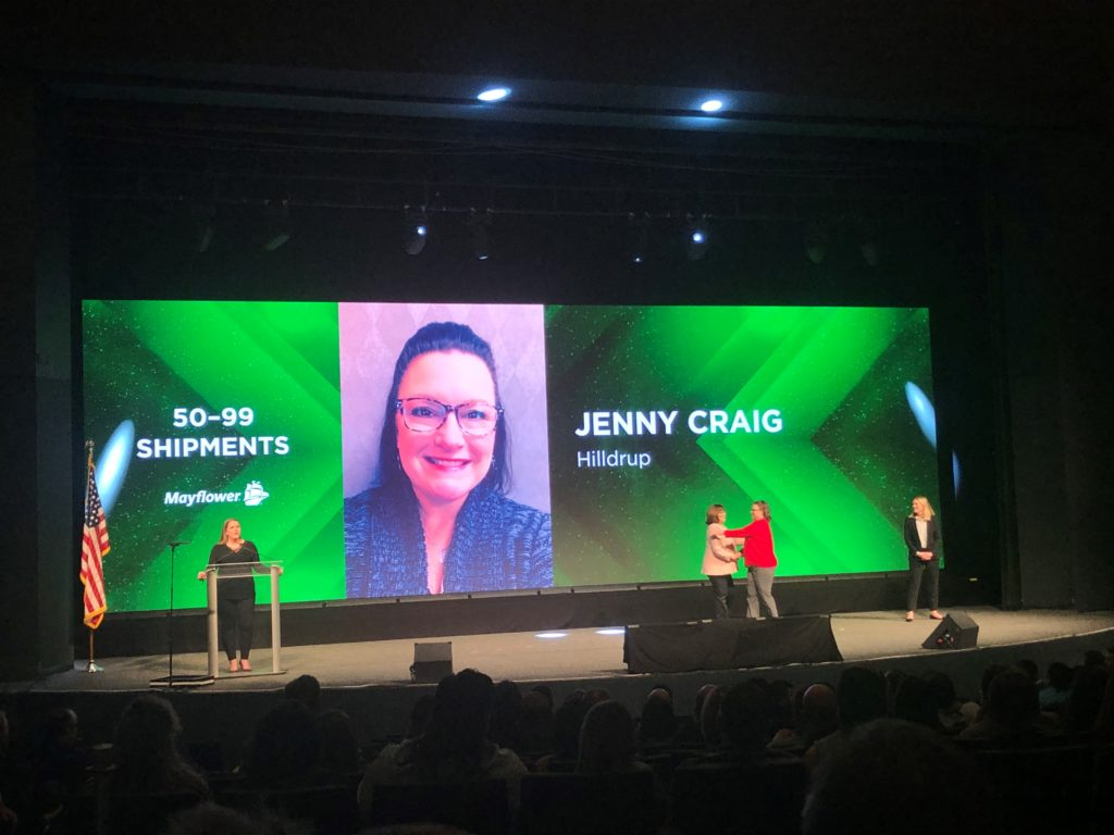 Jenny Craig accepts her Mayflower Heart of Quality Award