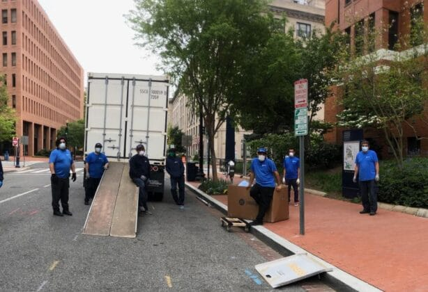 Team Hilldrup is pictured during our work with GWU to assist in moving out students' dorm items amongst COVID-19