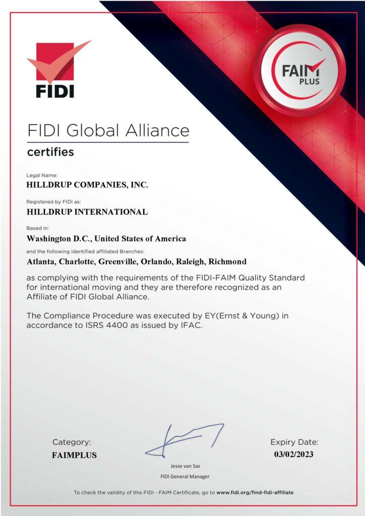 Hilldrup's FIDI/FAIM Certificate