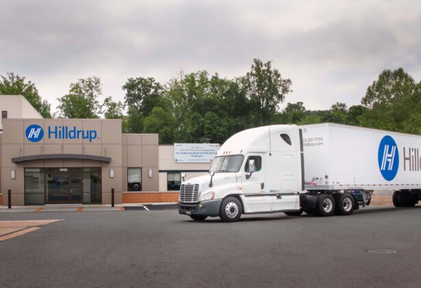 Hilldrup truck in front of Stafford office