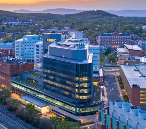 An overhead photo of UVA Health in Charlottesville, VA.