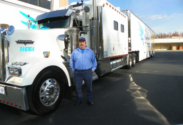 Dennis Putnam stands outside his truck at Stafford's Corporate Headquarters in Stafford, VA.