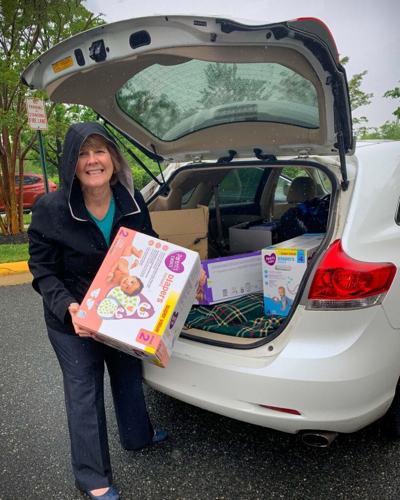 Mary Katherine Wood delivers diapers to Empowerhouse in Fredericksburg.