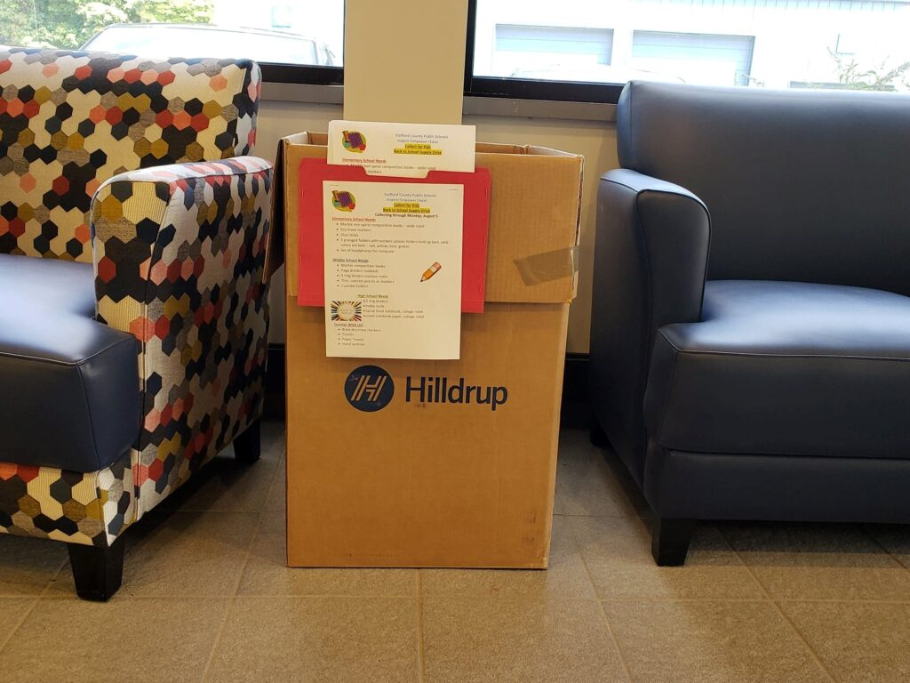 Hilldrup's donation box displayed in the lobby of our office in 2019.
