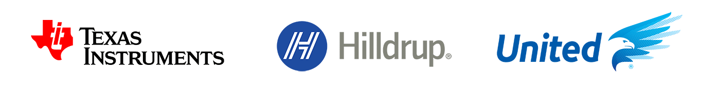 logos of Texas Instruments, Hilldrup and United Van Lines