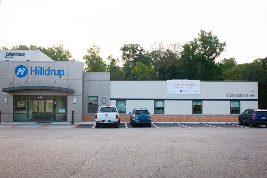 Hilldrup's corporate office with Van Operator Appreciation Week banner displayed.