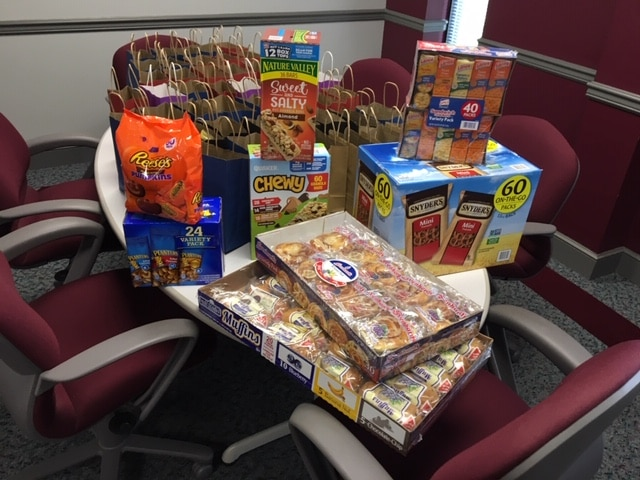 Hilldrup Greenville displayed snacks for Van Operators to take and enjoy.