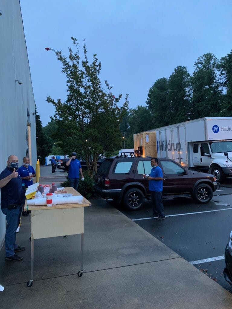 Hilldrup's Raleigh service teams enjoy food during Van Operator Appreciation Week.