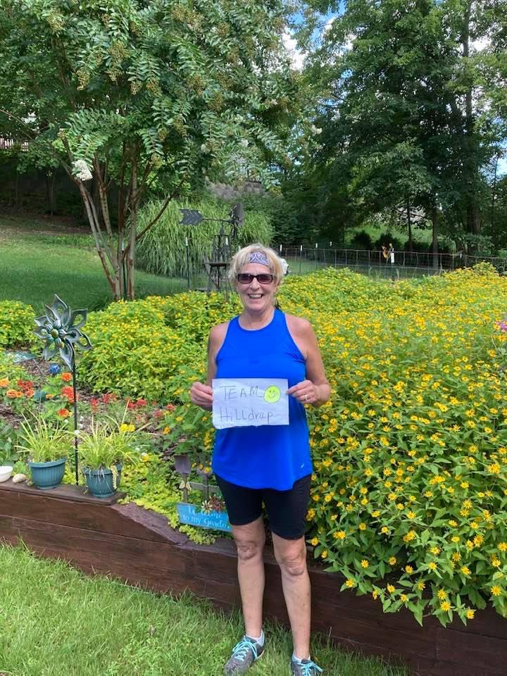 Toni Mohrman of Hilldrup's Stafford office participates in the Stafford virtual 5k.