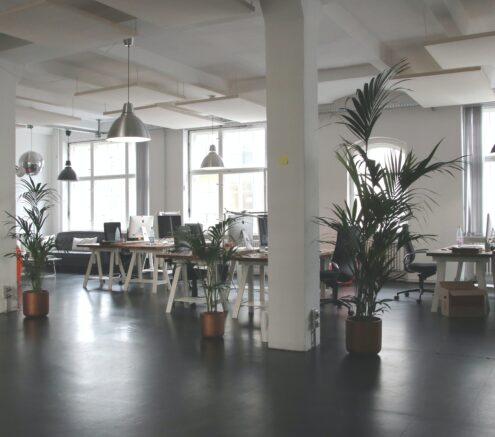 Image of an open office layout for small or large offices to utilize workspace.