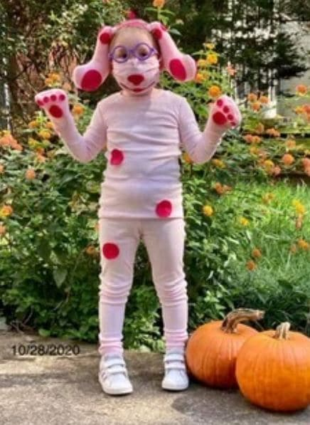 Jennifer Cleven's daughter dresses up as Magenta from Blues Clues for Halloween.