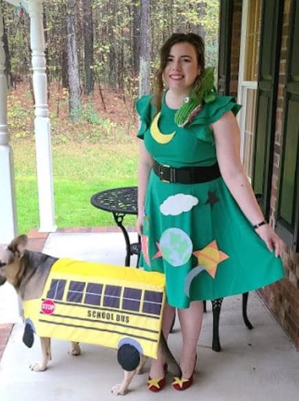 Bridget Dern and her dog dressed as Ms. Frizzle and the Magic School Bus