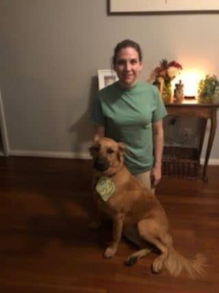 Jess Facciolo and her dog dressed as Scooby and Shaggy for Halloween.