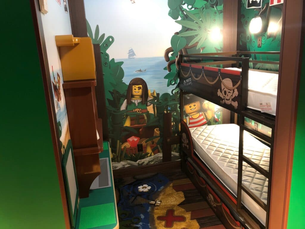 Each room at Legoland is inspired by the brand itself.