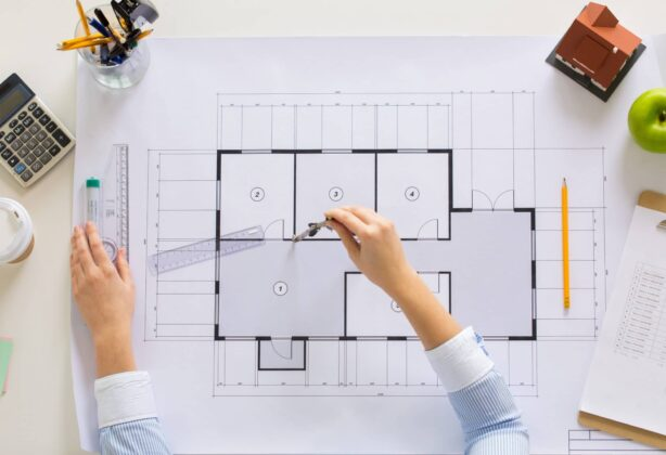 Layout plans for an office redesign