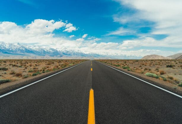 Picture of a highway in the desert.