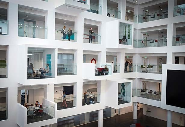 Modern cubicles in a workspace