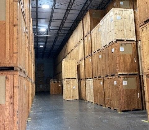 Crates inside of Hilldrup Orlando's warehouse