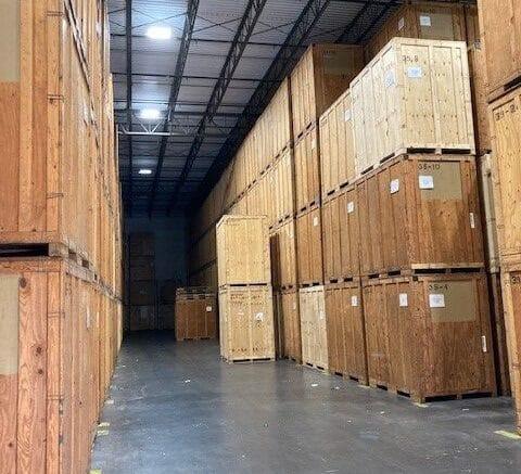 Crates inside of Hilldrup Orlando's warehouse