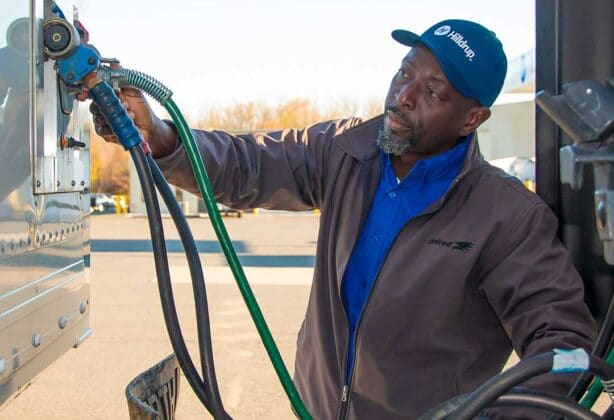 Hilldrup Van Operator, Olu Osinowo prepares his truck for a move.