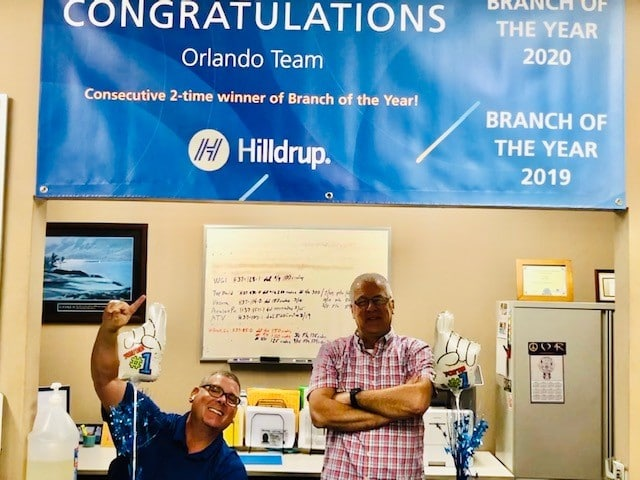 Hilldrup Orlando's Jeff Swim and Ed Fitzgerald celebrate their branch's win of Branch of the Year