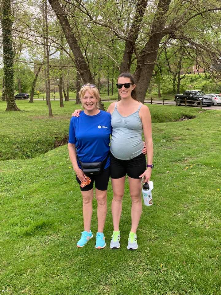 Toni Mohrman and her daughter, Emily Setlock, pictured together participating in the virtual Stafford Hospital 5K event.