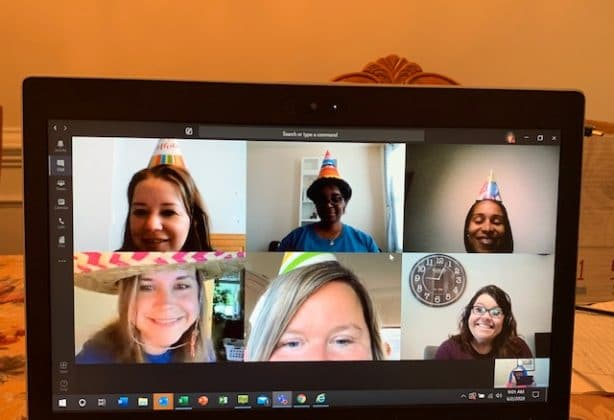 Hilldrup's Quality department has a virtual happy hour together.