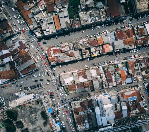 Overhead shot of a city center.
