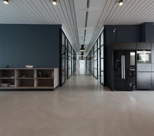 Empty room and hallway of a contemporary office building.