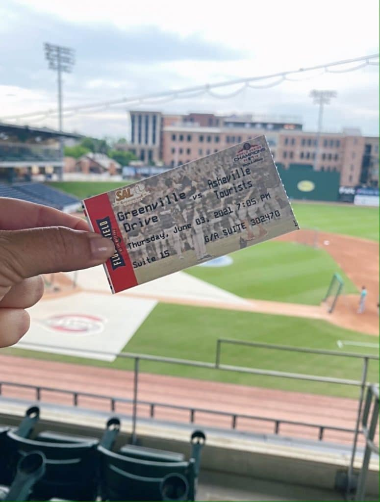 Ticket to the Greenville Drive's game.