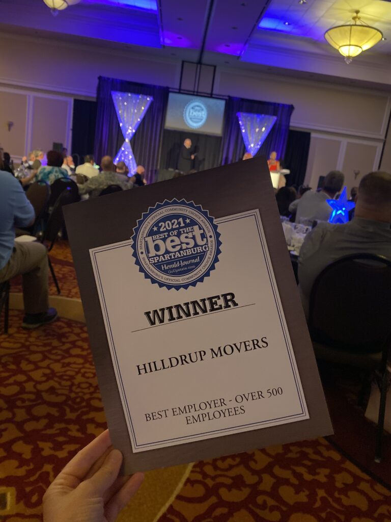 Hilldrup recognized at the Best of Spartanburg dinner reception.