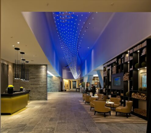 Picture of a contemporary, high-scale hotel lobby.