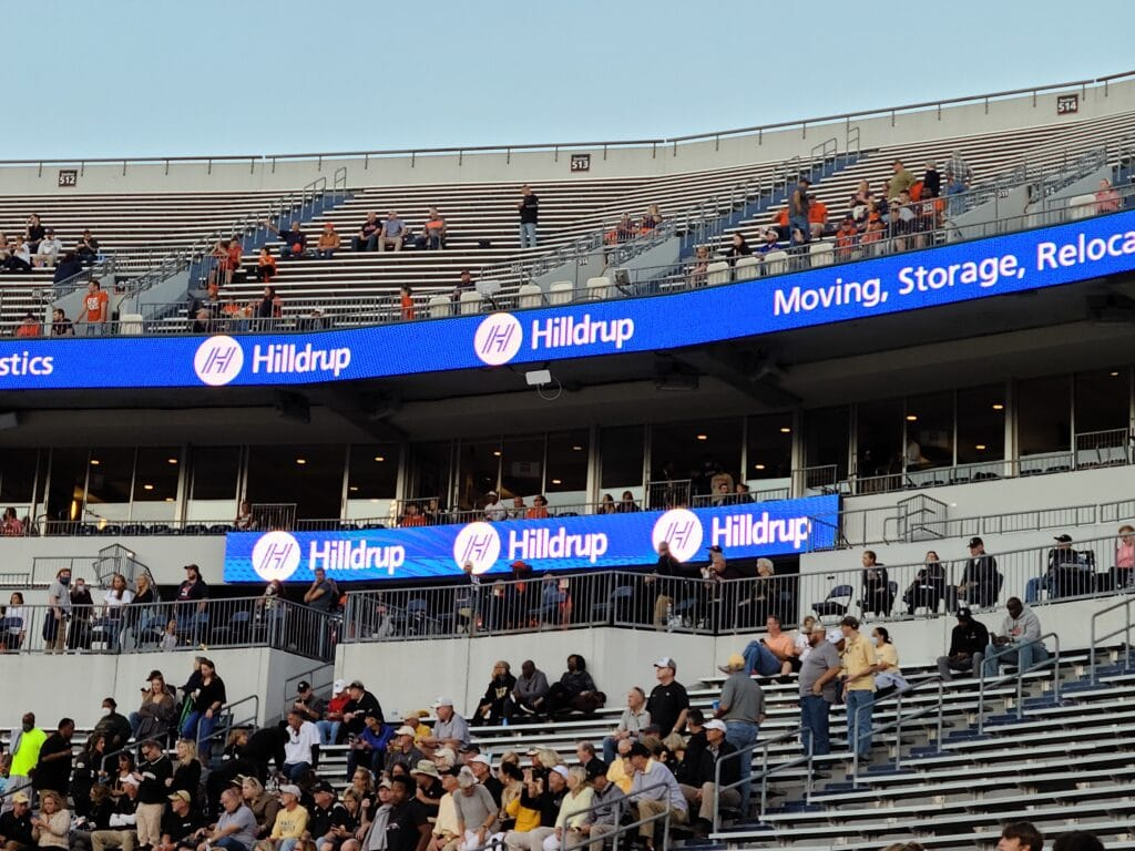 Hilldrup's logo displayed during the UVA game.