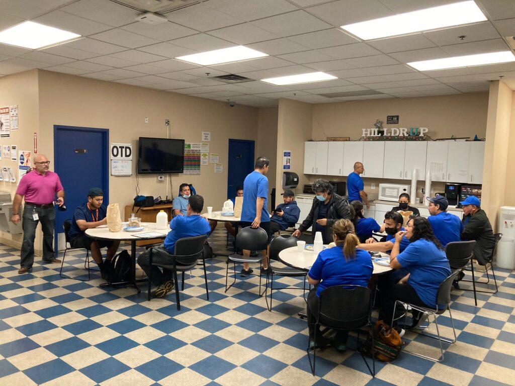 Hilldrup's Dulles team enjoys a meal together during Van Operator Appreciation Week